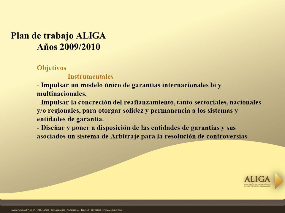 Plan de trabajo ALIGA Años 2009/2010 Objetivos Instrumentales - Impulsar un modelo único de garantías internacionales bi y multinacionales.