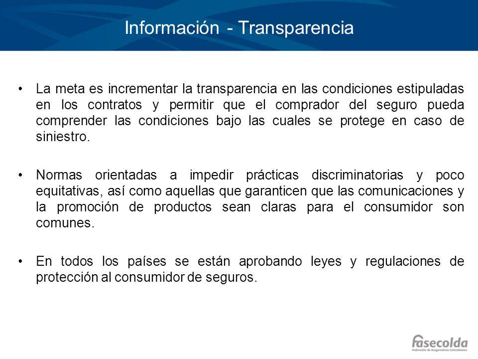 Información - Transparencia La meta es incrementar la transparencia en las condiciones estipuladas en los contratos y permitir que el comprador del se