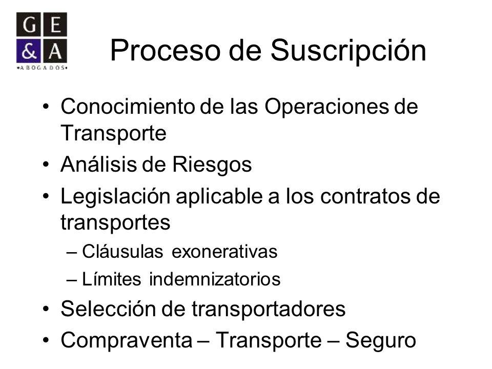 Proceso de Suscripción Conocimiento de las Operaciones de Transporte Análisis de Riesgos Legislación aplicable a los contratos de transportes –Cláusul