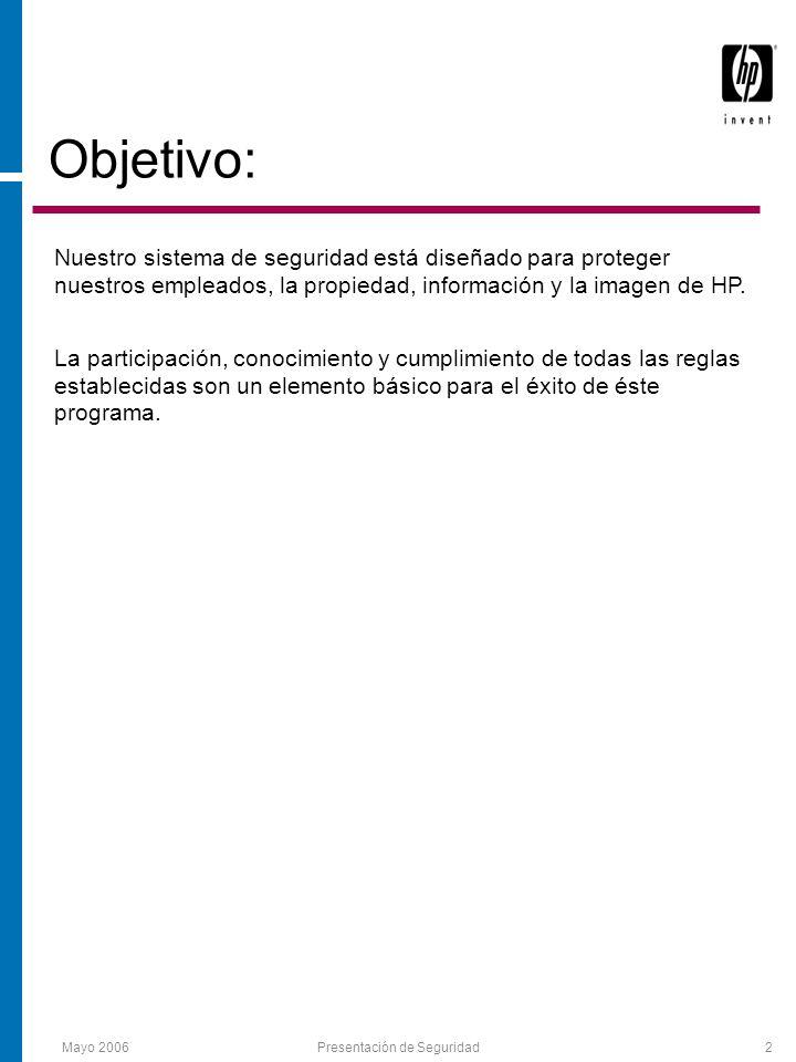 Presentación de Seguridad2 Objetivo: Nuestro sistema de seguridad está diseñado para proteger nuestros empleados, la propiedad, información y la imagen de HP.
