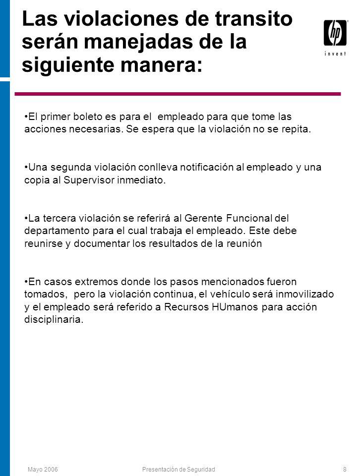Mayo 2006Presentación de Seguridad9 Remocion e Introducción de Propiedad Toda propiedad de HP que sea removida de las facilidades requiere un Property Pass firmado por personal autorizado.