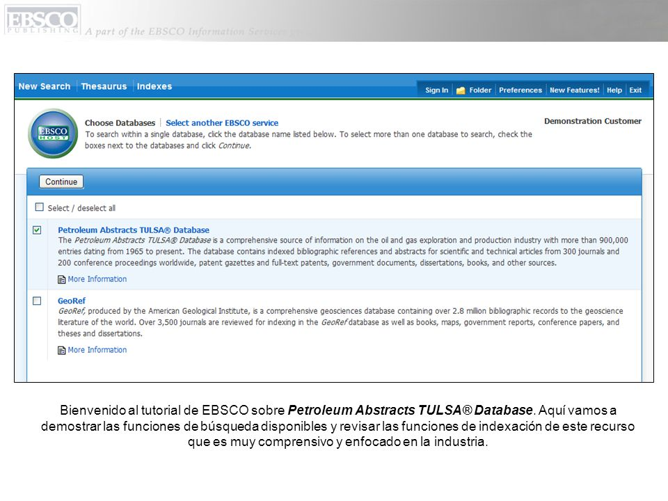 Bienvenido al tutorial de EBSCO sobre Petroleum Abstracts TULSA® Database.