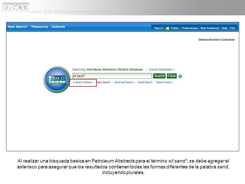 En la ventana que dice Search Options (Opciones de Búsqueda), es fácil limitar o expandir sus resultados de búsqueda.