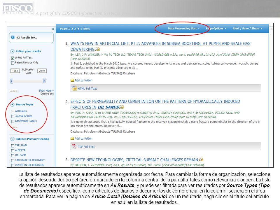 Usted puede imprimir, mandar por correo electrónico, guardar, citar o exportar un solo resultado de la página de detalles del artículo cuando usted hace clic en icono que corresponde a una de esas opciones.