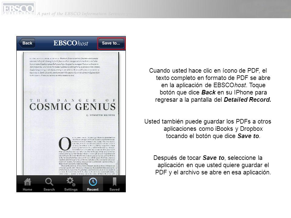 Cuando usted hace clic en ícono de PDF, el texto completo en formato de PDF se abre en la aplicación de EBSCOhost.