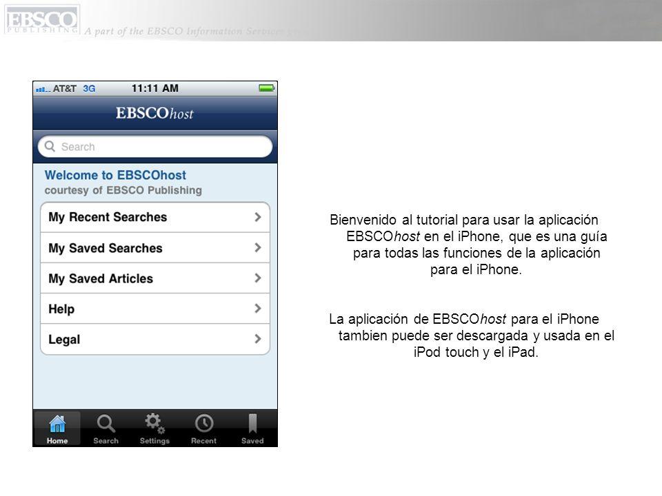 Bienvenido al tutorial para usar la aplicación EBSCOhost en el iPhone, que es una guía para todas las funciones de la aplicación para el iPhone.