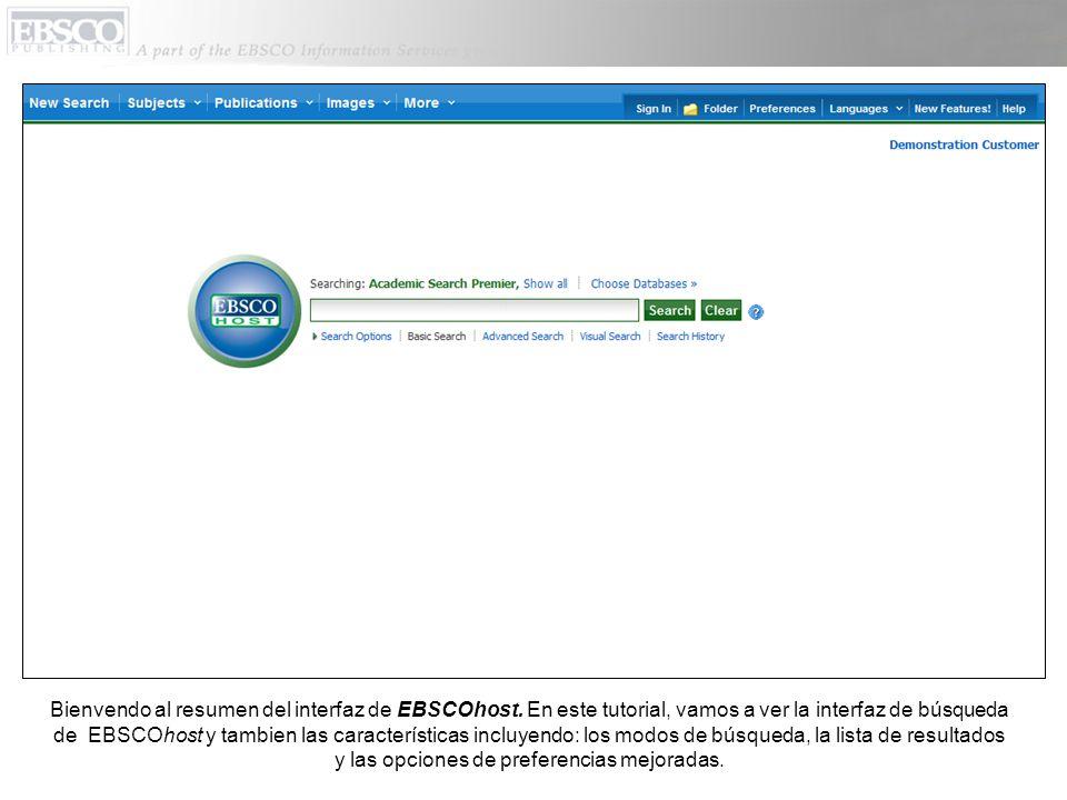 Bienvendo al resumen del interfaz de EBSCOhost.
