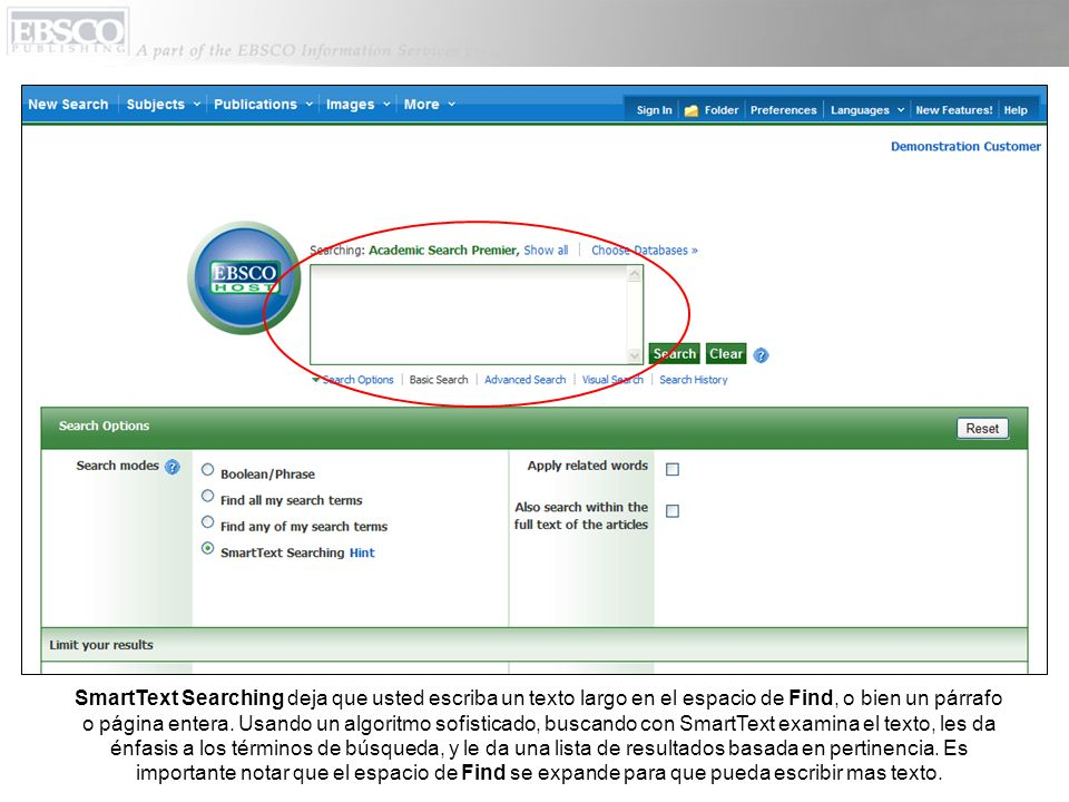 SmartText Searching deja que usted escriba un texto largo en el espacio de Find, o bien un párrafo o página entera.