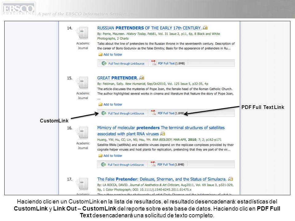 Haciendo clic en un CustomLink en la lista de resultados, el resultado desencadenará: estadísticas del CustomLink y Link Out – CustomLink del reporte