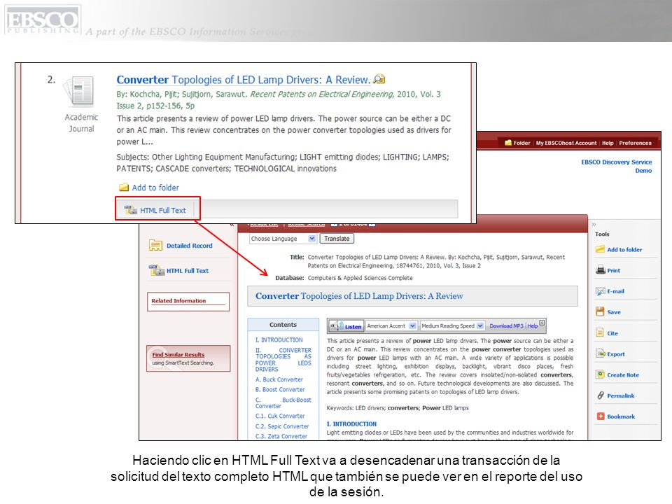 Haciendo clic en HTML Full Text va a desencadenar una transacción de la solicitud del texto completo HTML que también se puede ver en el reporte del u