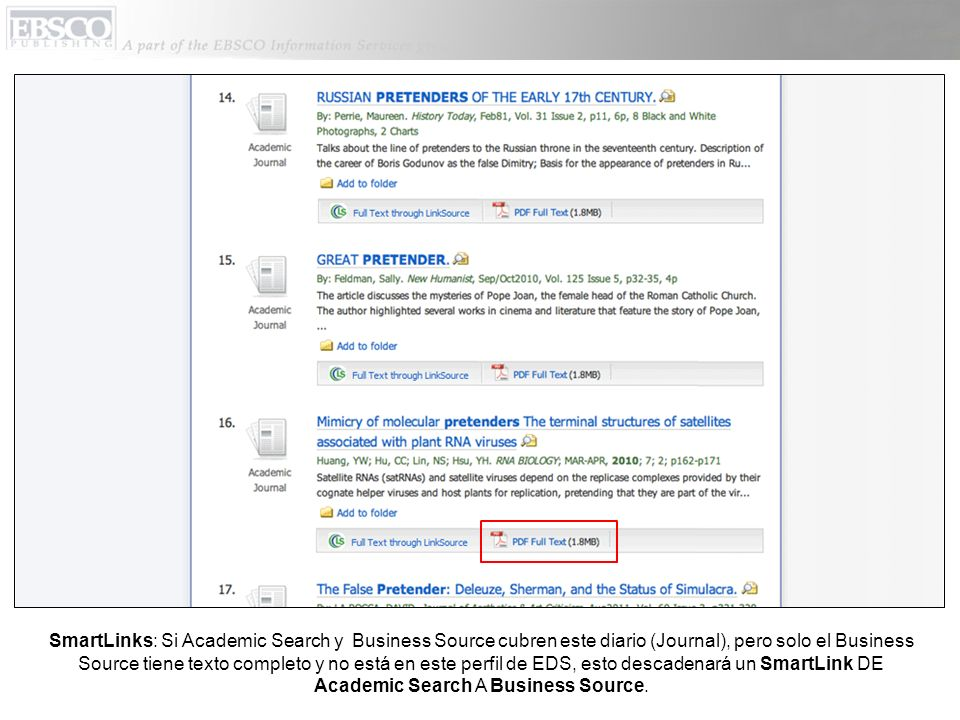 SmartLinks: Si Academic Search y Business Source cubren este diario (Journal), pero solo el Business Source tiene texto completo y no está en este per