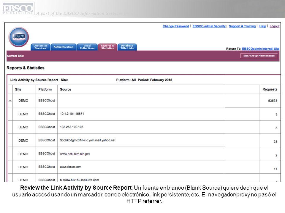 Review the Link Activity by Source Report: Un fuente en blanco (Blank Source) quiere decir que el usuario accesó usando un marcador, correo electrónic