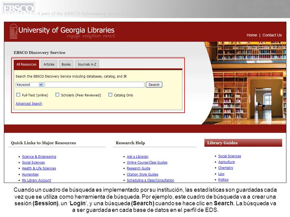 Estadísticas de Full Text, Abstract y CustomLink se pueden ver debajo de Requests en el reporte del uso de la sesión.