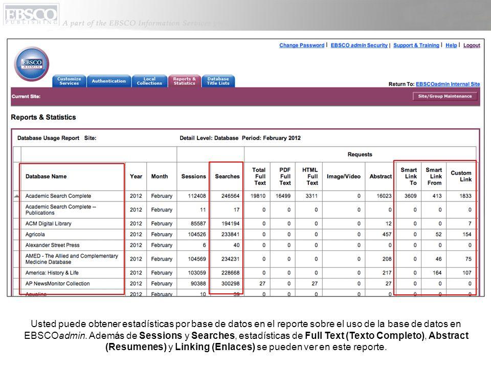 Usted puede obtener estadísticas por base de datos en el reporte sobre el uso de la base de datos en EBSCOadmin. Además de Sessions y Searches, estadí