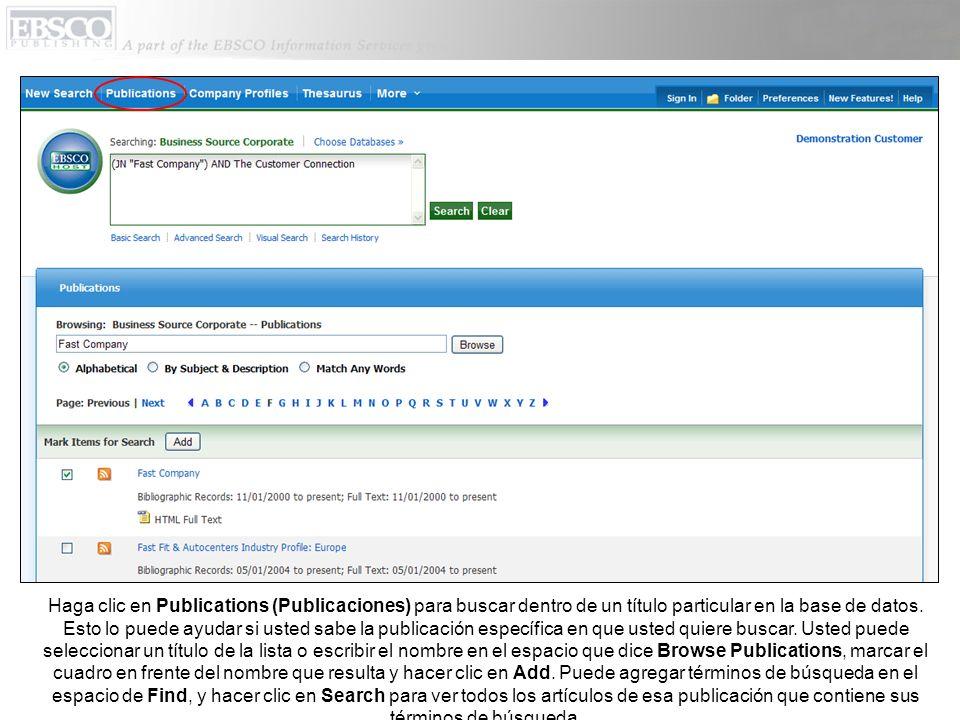 Haga clic en Publications (Publicaciones) para buscar dentro de un título particular en la base de datos.