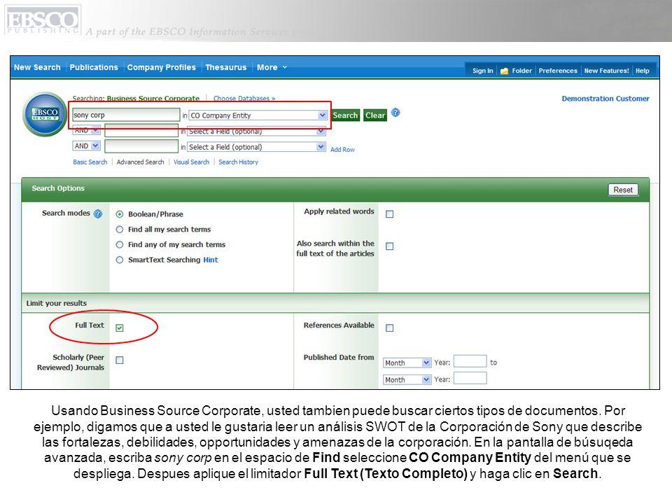 Usando Business Source Corporate, usted tambien puede buscar ciertos tipos de documentos.