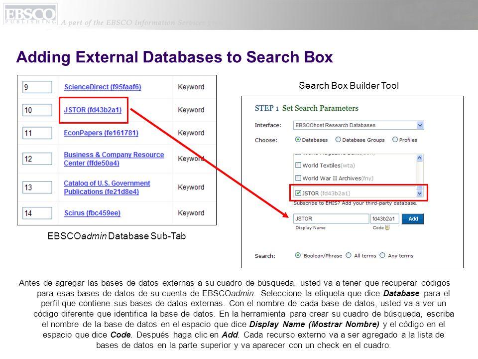 Search Box with Database Groups Si usted tiene grupos de bases de datos que usted quiere usar en vez de bases de datos individuales, debajo de menú de Interface, seleccione Database Groups (Grupos de Bases de Datos).