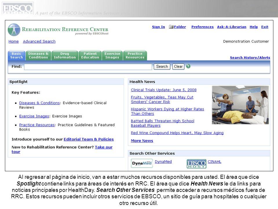 Al regresar al página de inicio, van a estar muchos recursos disponibles para usted. El área que dice Spotlight contiene links para áreas de interés e