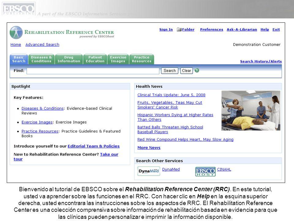 Para encontrar materiales sobre referencia de rehabilitación en RRC, usted puede conducir una búsqueda por palabra clave o buscar contenido específico.