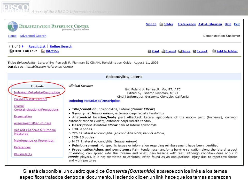 Si está disponible, un cuadro que dice Contents (Contenido) aparece con los links a los temas específicos tratados dentro del documento. Haciendo clic