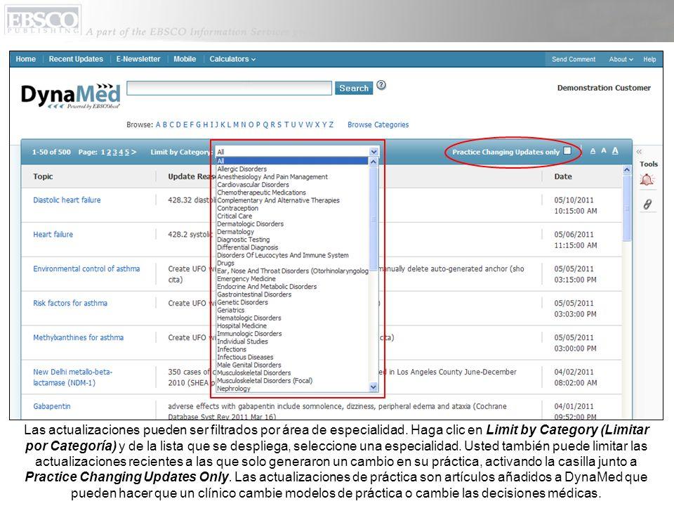 Las actualizaciones pueden ser filtrados por área de especialidad.