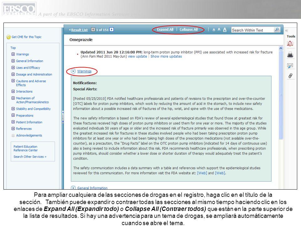 Para ampliar cualquiera de las secciones de drogas en el registro, haga clic en el título de la sección.
