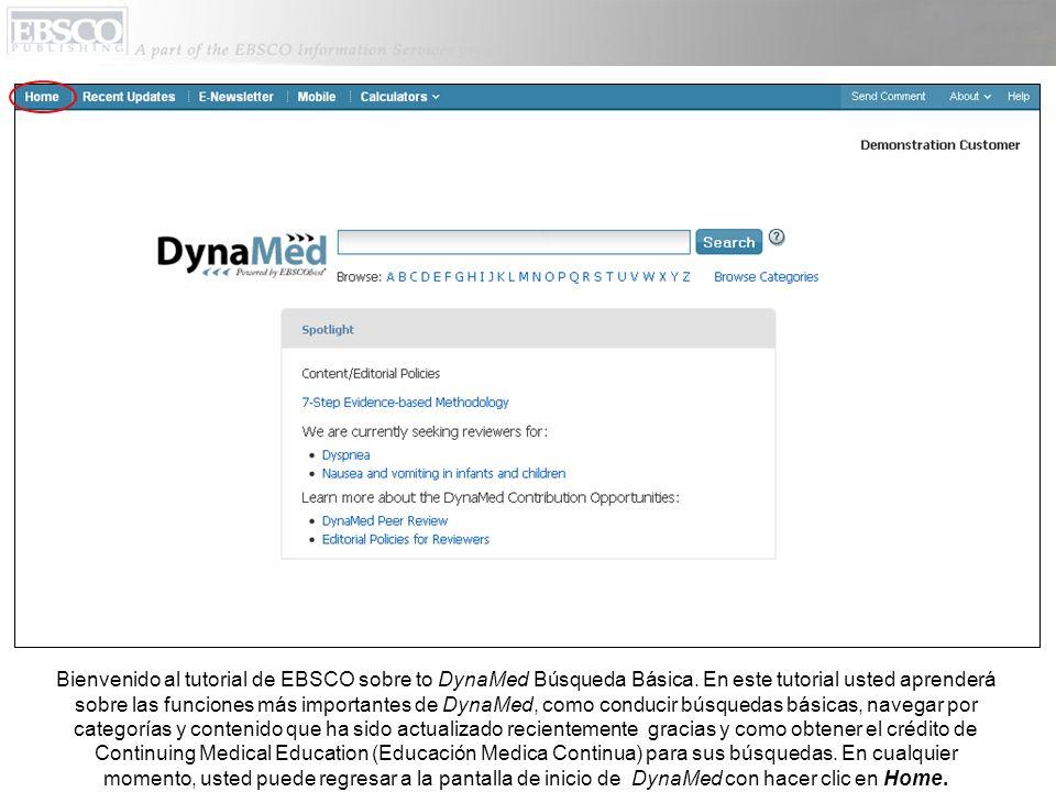 Bienvenido al tutorial de EBSCO sobre to DynaMed Búsqueda Básica.