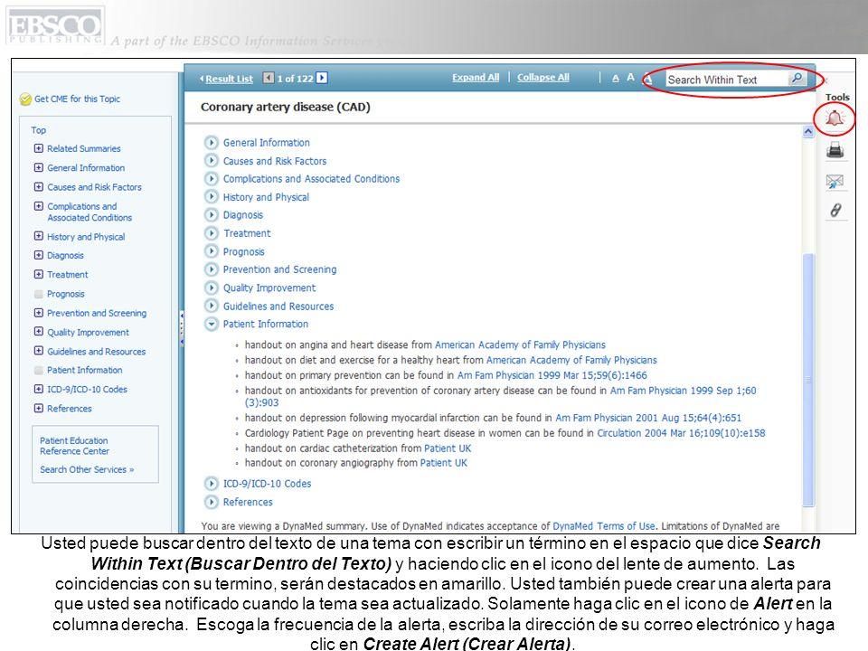 Usted puede buscar dentro del texto de una tema con escribir un término en el espacio que dice Search Within Text (Buscar Dentro del Texto) y haciendo clic en el icono del lente de aumento.