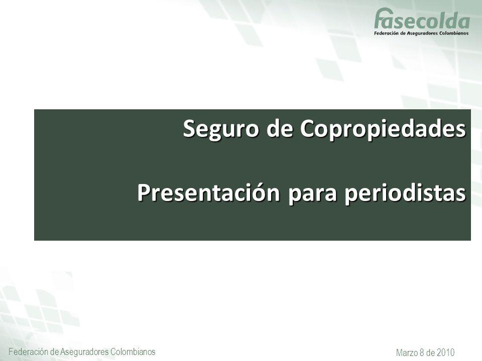 Federación de Aseguradores Colombianos Marzo 8 de 2010 Seguro de Copropiedades Presentación para periodistas