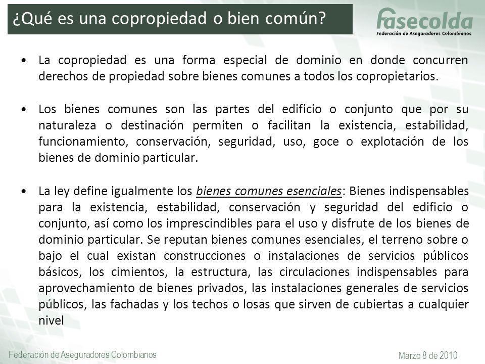 Federación de Aseguradores Colombianos Marzo 8 de 2010 La copropiedad es una forma especial de dominio en donde concurren derechos de propiedad sobre