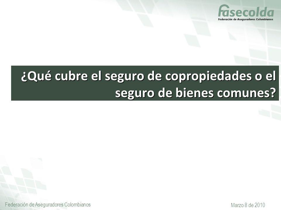 Federación de Aseguradores Colombianos Marzo 8 de 2010 ¿Qué cubre el seguro de copropiedades o el seguro de bienes comunes?