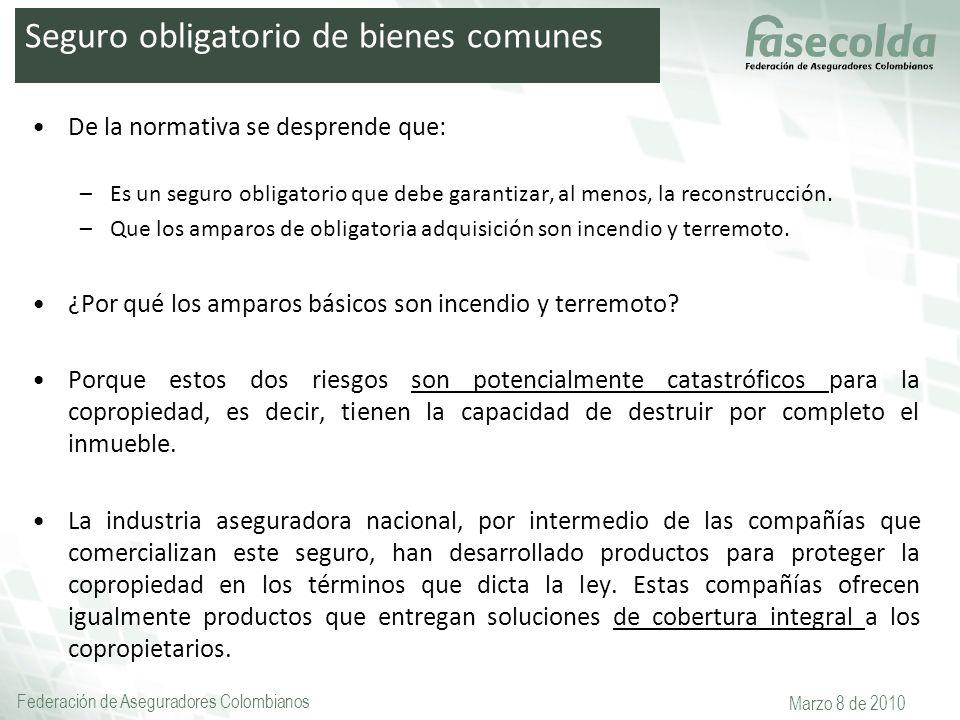 Federación de Aseguradores Colombianos Marzo 8 de 2010 De la normativa se desprende que: –Es un seguro obligatorio que debe garantizar, al menos, la r