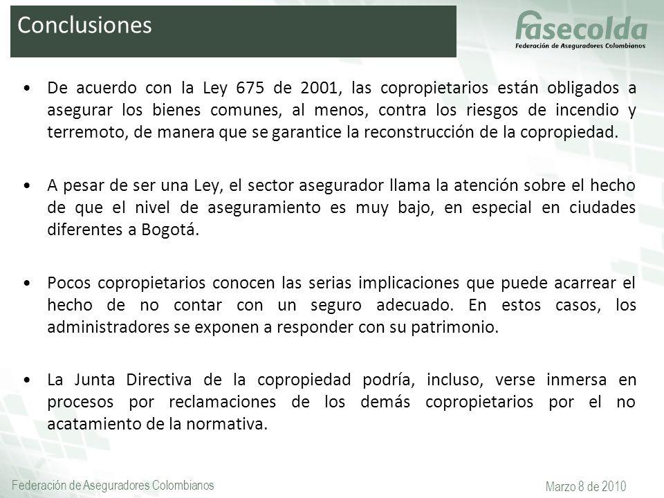 Federación de Aseguradores Colombianos Marzo 8 de 2010 De acuerdo con la Ley 675 de 2001, las copropietarios están obligados a asegurar los bienes com