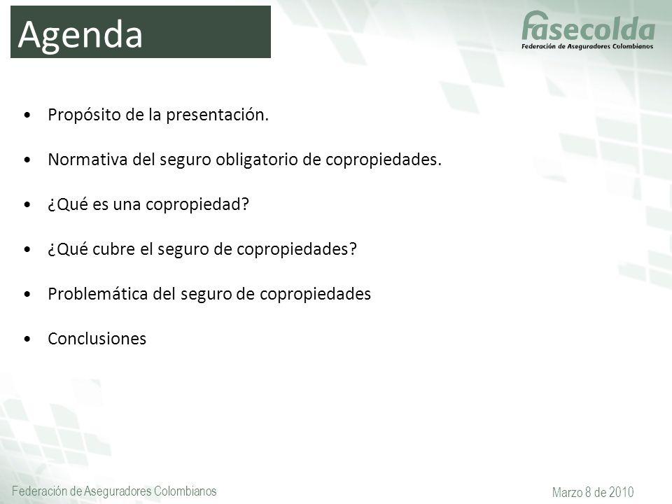Federación de Aseguradores Colombianos Marzo 8 de 2010 Agenda Propósito de la presentación. Normativa del seguro obligatorio de copropiedades. ¿Qué es
