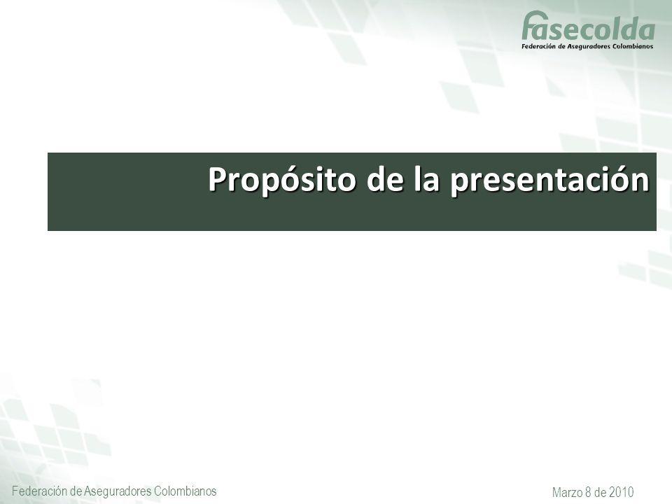 Federación de Aseguradores Colombianos Marzo 8 de 2010 Propósito de la presentación