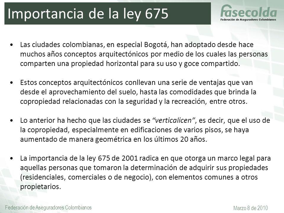 Federación de Aseguradores Colombianos Marzo 8 de 2010 Importancia de la ley 675 Las ciudades colombianas, en especial Bogotá, han adoptado desde hace