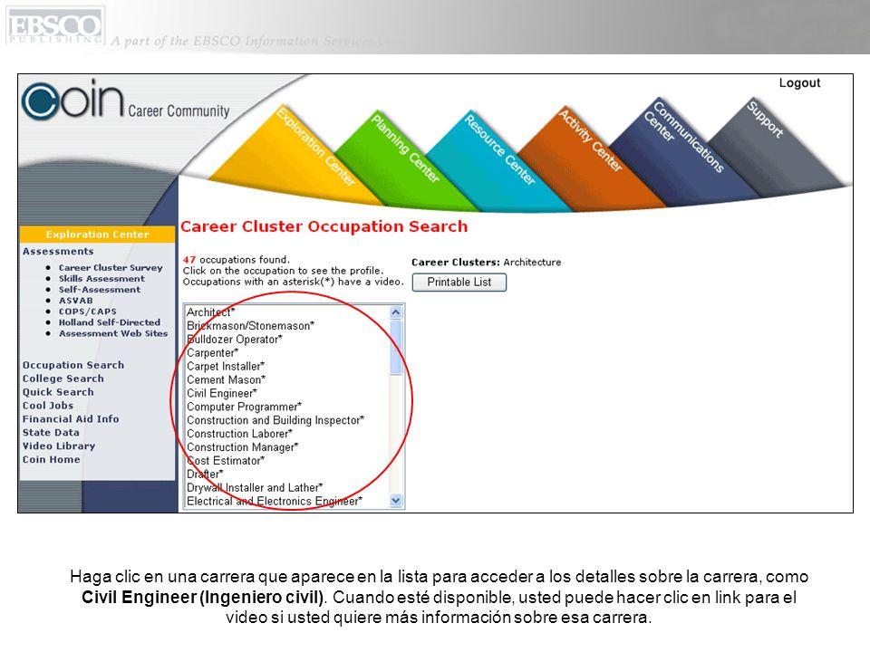 Haga clic en una carrera que aparece en la lista para acceder a los detalles sobre la carrera, como Civil Engineer (Ingeniero civil).