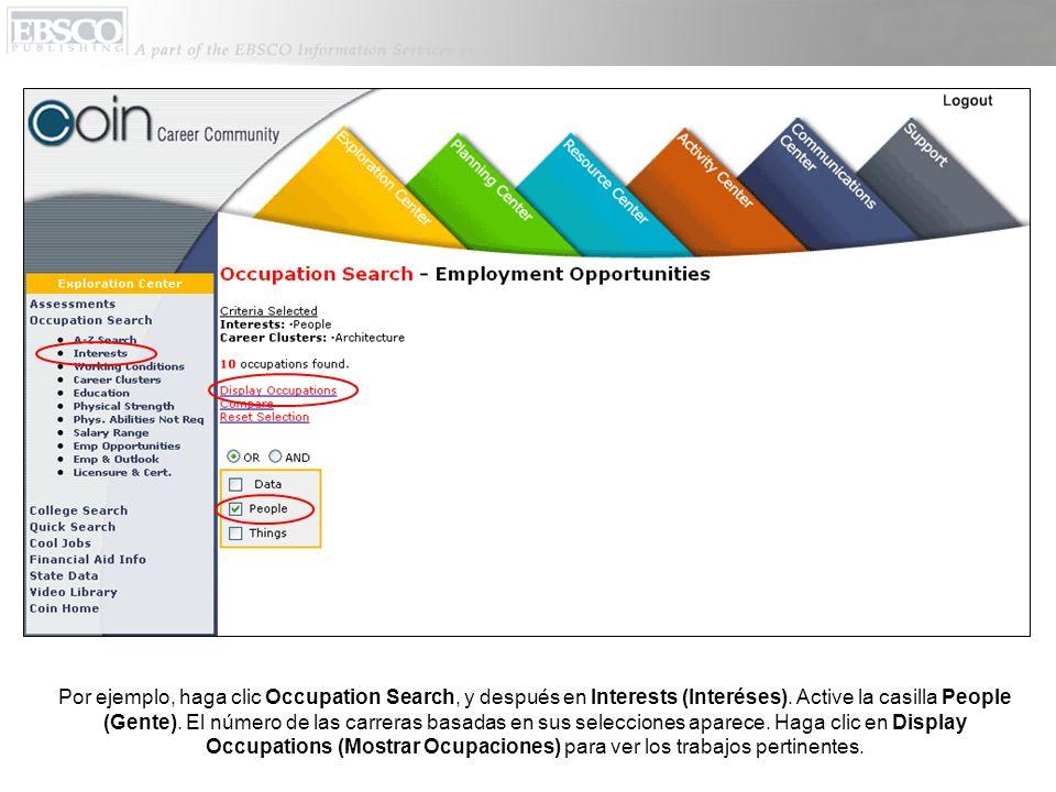Haga clic en un trabajo para ver información sobre el trabajo, o ver el video sobre el trabajo.