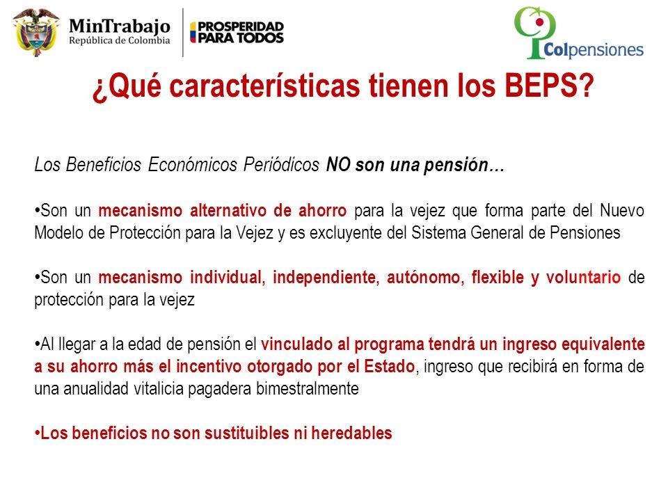 ¿Qué características tienen los BEPS? Los Beneficios Económicos Periódicos NO son una pensión… Son un mecanismo alternativo de ahorro para la vejez qu