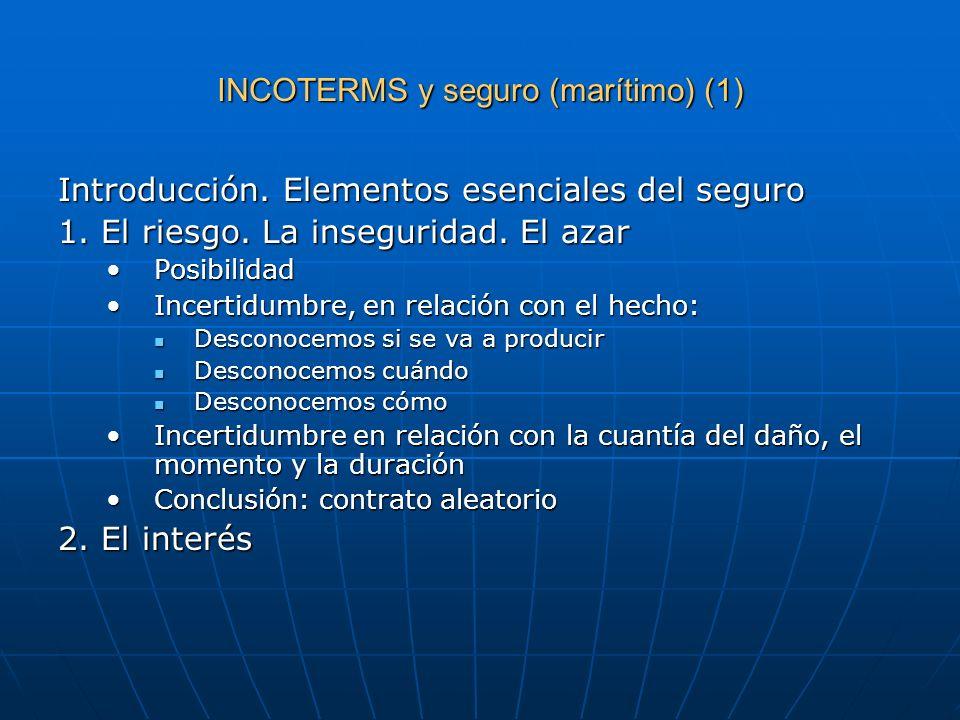 INCOTERMS y seguro (marítimo) (1) Introducción. Elementos esenciales del seguro 1. El riesgo. La inseguridad. El azar PosibilidadPosibilidad Incertidu