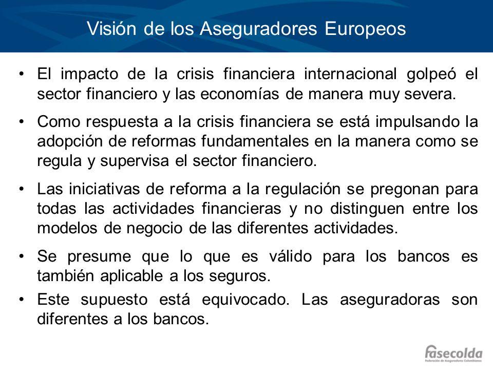 Visión de los Aseguradores Europeos El impacto de la crisis financiera internacional golpeó el sector financiero y las economías de manera muy severa.