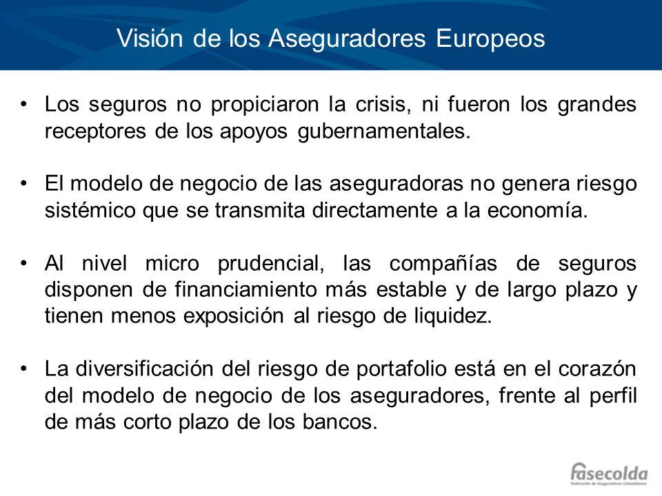 Visión de los Aseguradores Europeos Los seguros no propiciaron la crisis, ni fueron los grandes receptores de los apoyos gubernamentales. El modelo de
