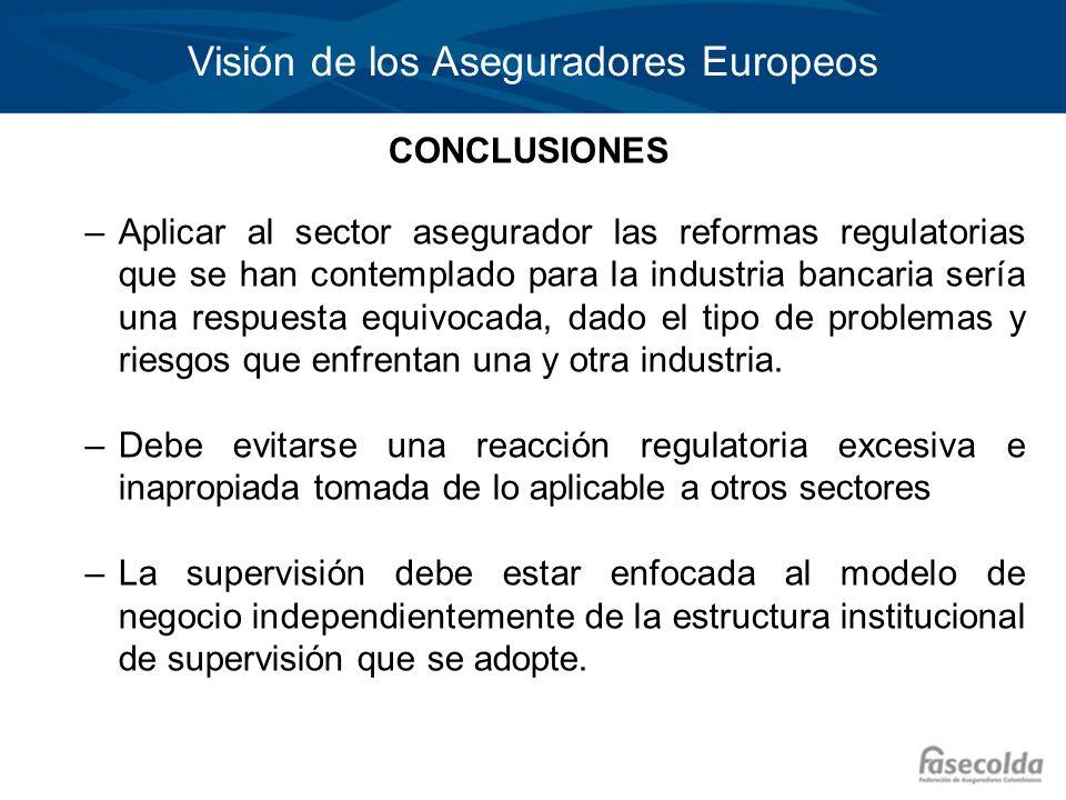 Visión de los Aseguradores Europeos CONCLUSIONES –Aplicar al sector asegurador las reformas regulatorias que se han contemplado para la industria banc
