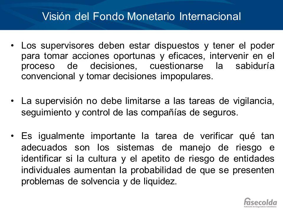 Visión del Fondo Monetario Internacional Los supervisores deben estar dispuestos y tener el poder para tomar acciones oportunas y eficaces, intervenir