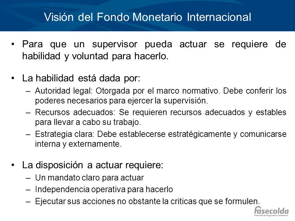 Visión del Fondo Monetario Internacional Para que un supervisor pueda actuar se requiere de habilidad y voluntad para hacerlo. La habilidad está dada