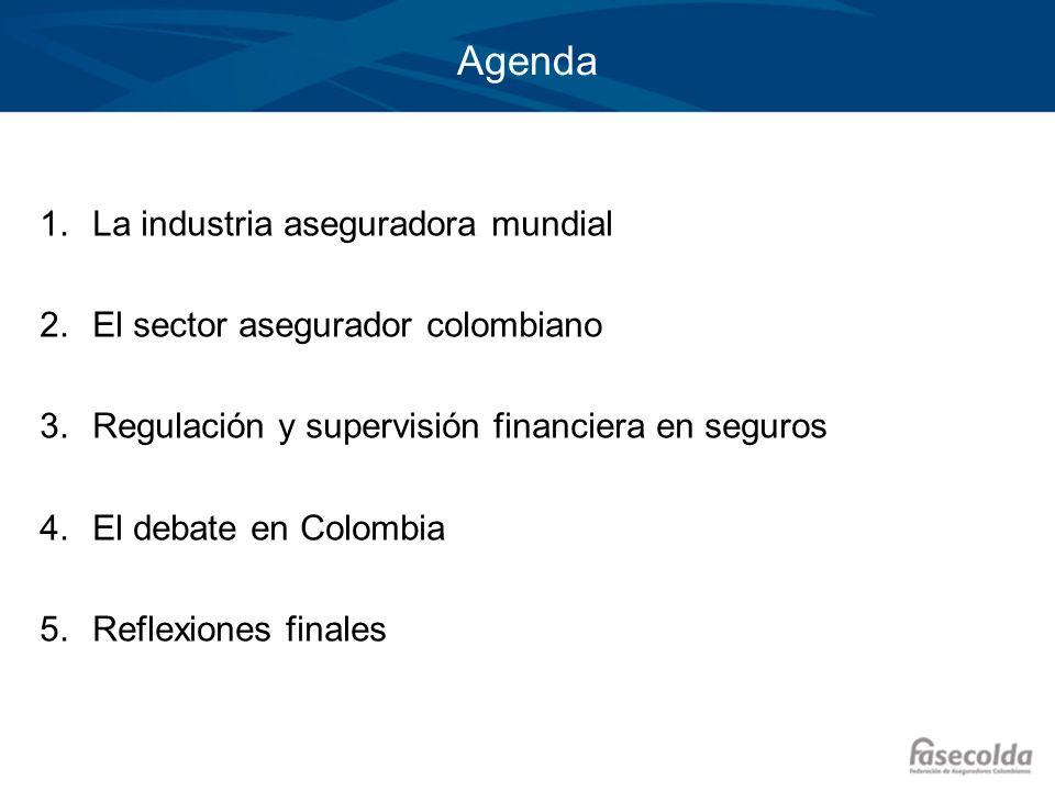 Agenda 1.La industria aseguradora mundial 2.El sector asegurador colombiano 3.Regulación y supervisión financiera en seguros 4.El debate en Colombia 5