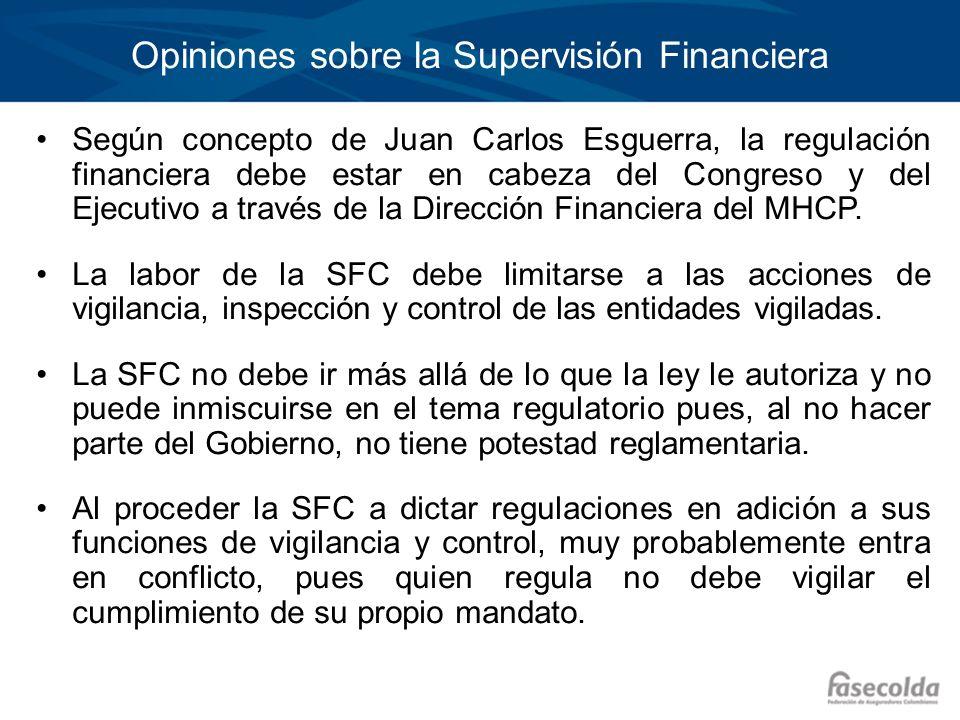 Opiniones sobre la Supervisión Financiera Según concepto de Juan Carlos Esguerra, la regulación financiera debe estar en cabeza del Congreso y del Eje