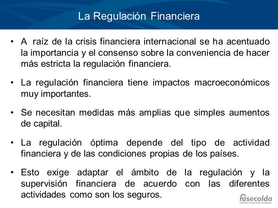 La Regulación Financiera A raíz de la crisis financiera internacional se ha acentuado la importancia y el consenso sobre la conveniencia de hacer más