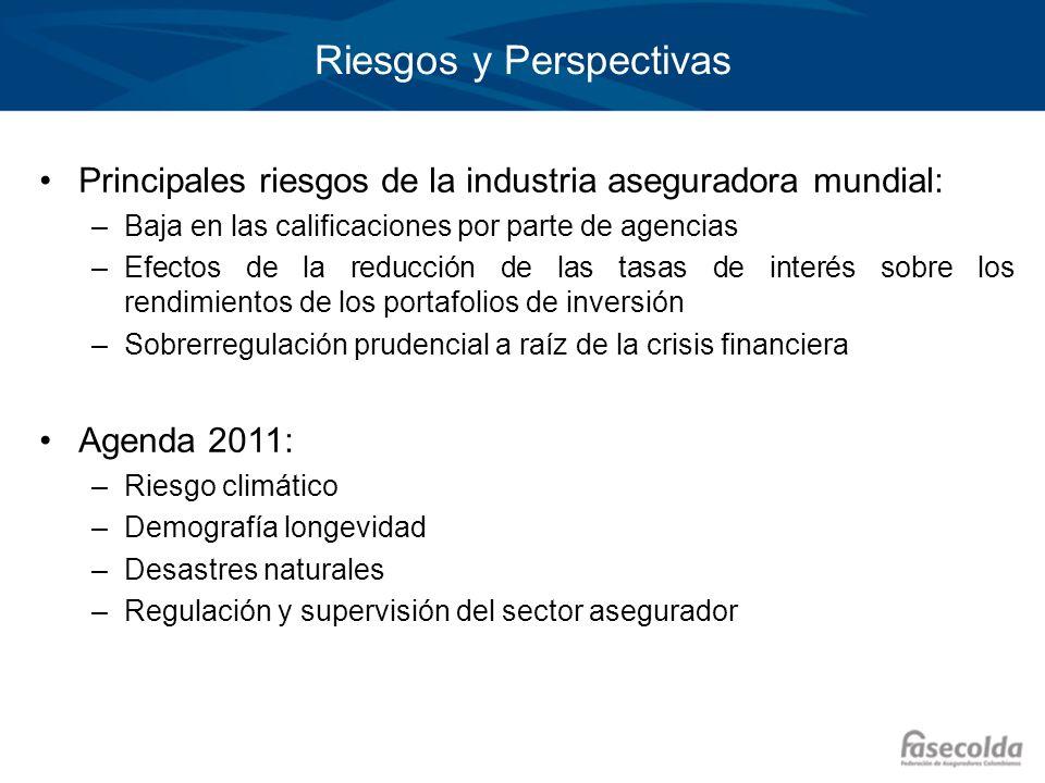 Riesgos y Perspectivas Principales riesgos de la industria aseguradora mundial: –Baja en las calificaciones por parte de agencias –Efectos de la reduc