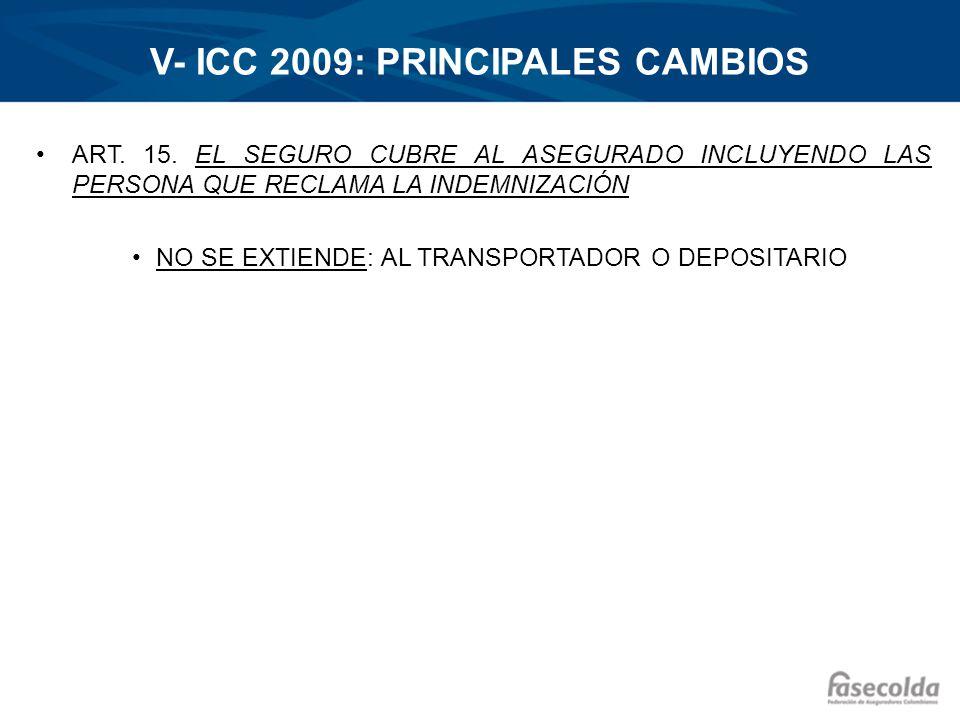 V- ICC 2009: PRINCIPALES CAMBIOS ART. 15. EL SEGURO CUBRE AL ASEGURADO INCLUYENDO LAS PERSONA QUE RECLAMA LA INDEMNIZACIÓN NO SE EXTIENDE: AL TRANSPOR
